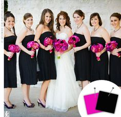 Bridesmaids in black and the bouquet in fuchsia pink. Bride in white.