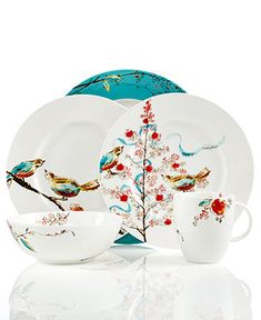 'Chirp' seasonal, Christmas Lenox dinnerware - (Holiday Lane - Macy's) <> Fun place settings!  (birds, winter, Xmas, feathered friends, plates)