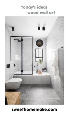 Home Interior Styles Black and White Modern Bathroom Wall Decor From New York Apartment Interior Desi. Bathroom Wall Decor, White Bathroom, Bathroom Ideas, Glass Bathroom, Bathroom Organization, Bathroom Trends, Bedroom Wall, Bathroom Purple, Lavender Bathroom