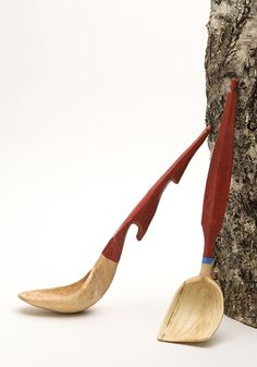 Super cool hook so you can hang it on the pot. Unusual colorful ladle by Jogge Sundquist.