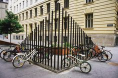 Bike racks serve a purpose, but also can have quite a presence on the spaces of our streets. What bike racks make a statement in your… Project For Public Spaces, Public Space Design, Urban Furniture, Street Furniture, Furniture Online, Furniture Nyc, Furniture Stores, Cheap Furniture, Urban Landscape