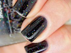 "Nail polish - ""Version 2.0"" rainbow glitter in a black jelly base on Etsy, $10.15 CAD"