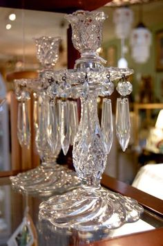 Browse and buy one-of-a-kind home furnishings, new accent pieces, and vintage glamour at Raleigh's premier design store, Hunt & Gather Diy Candle Holders, Diy Candles, Candlestick Holders, Shabby Home, Crystal Glassware, Candle Stand, Antique Decor, Crystal Wedding, Mirror With Lights