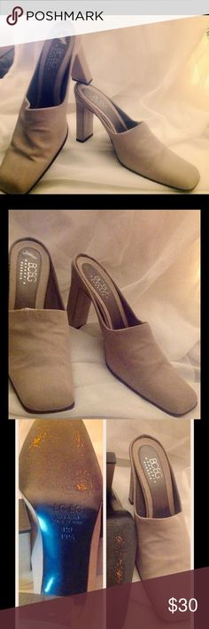 Mules Heels Shoes BCBG GRAY MULES. 3.5in heels. Linen look. BCBGMaxAzria Shoes Mules & Clogs