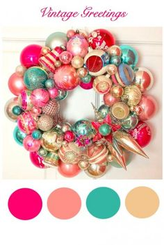 Vintage Christmas Colors in this Vince glass ornament wreath! Christmas Ornament Wreath, Decoration Christmas, Christmas Wreaths To Make, Noel Christmas, Vintage Christmas Ornaments, How To Make Wreaths, Bauble Wreath, Vintage Holiday, Tinsel Garland