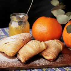 Recipe with video instructions: How to make Sfogliatella. Ingredients: 3 sheets puff pastry (10cmx20cm), 30 grams butter, softened at room temperature, 100 grams cream cheese, 50 grams marmalade, Flour, Confectioners's sugar