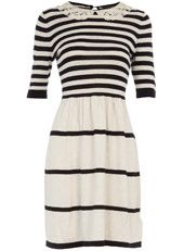 Lace collar striped dress
