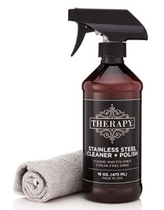 Therapy Premium Stainless Steel Cleaner & Polish w/ Microfiber Cloth 16 fl oz Stainless Steel Refrigerator, Stainless Steel Appliances, Stainless Steel Jewelry, Best Cleaning Products, Cleaning Kit, Grill Cleaning, Cleaning Supplies, Speed Cleaning, Kitchen Cleaning
