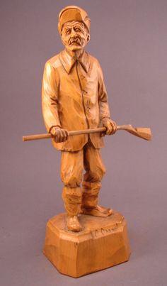 C. Caron Signed Carved Wood Sculpture; Quebec, Ca :