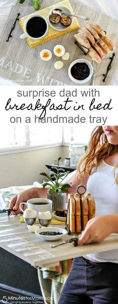 A Handmade Breakfast Tray For Dad - DIY Father's Day Gift - Surprise dad with breakfast in bed this Fathers Day with a handmade tray. Diy Father's Day Crafts, Father's Day Diy, Homemade Fathers Day Gifts, Fathers Day Crafts, Father's Day Breakfast, Breakfast Ideas, Breakfast Recipes, Food Trays, Do It Yourself Home