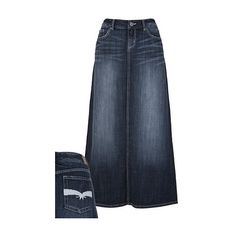 Long Dark Wash Denim Maxi Skirt... Never wear this even if there's a gun to your head