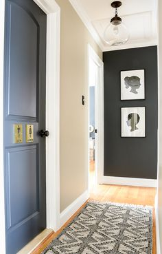 A small narrow hallway gets a sleek modern makeover with lots of contrast and texture. How to add style to a small hallway. A narrow hallway gets a sleek modern makeover with lots of contrast and texture. Hallway Wall Colors, Hallway Wall Decor, Dark Hallway, Hallway Ideas, Narrow Hallway Decorating, Foyer Decorating, Bathroom Makeovers On A Budget, Small Hallways, Small Upstairs Hallway