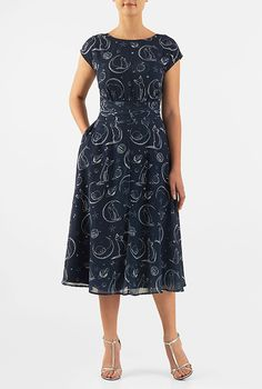 I <3 this Cat and moon print pleated empire georgette dress from eShakti