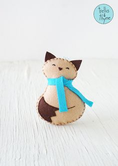 PDF Pattern - Cozy Kitty, Winter Felt Ornament Pattern, Christmas Ornament, Softie Pattern, Holiday Sewing Pattern