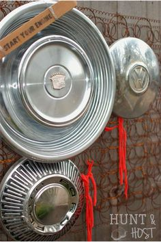 Hubcaps and a baby crib mattress recycled into a great clipboard. perfect for a boy's room or man cave www.huntandhost.com