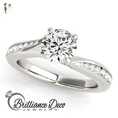 Petite Moissanite And Diamond Forever Brilliant Engagement Ring 0.85 Ctw. - Wedding and engagement rings (*Amazon Partner-Link)