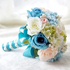 Abbie Home Wedding Bridal Bouquets Rose Penoy Bridemaid Holding Toss Silk Flowers-Tiffany Blue ** Want to know more, click on the image. (This is an affiliate link and I receive a commission for the sales)
