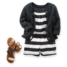 TOO CUTE! Black & White & Striped Romper with Cardi | Full outfit availale at Carter's for $29