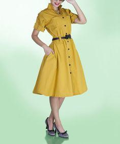 Look at this #zulilyfind! Mustard Anchor Dress - Women & Plus by Tatyana #zulilyfinds