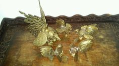 Vintage Chinese Brass Rooster and Chicks - Set of 5