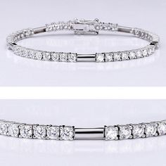 Beautiful cubic zirconia bracelet features brilliant round stones (0.10 carat each) in a four-prong 14k white gold setting. An approximate 4.5 total carat weight. This high quality cubic zirconia bracelet is 7 inches long, also available in different lengths and in 14k yellow gold via special order. Cubic zirconia weights refer to equivalent diamond carat size.