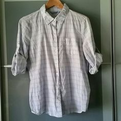 Cotton Button Up Washed and ready to go! Just needs a touch to the iron. 100% cotton white with blue and dark grey lines to make a check print with one front pocket. Very light material. IZOD Tops Button Down Shirts