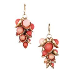 Coral Cluster Drop Earrings $34.00  For purchase at :  Amandalynnmosdell.chloeandisabel.com