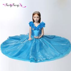 Cinderella Girls Dress 2017 Blue Organza Pageant Dress Boat Neck Ball Gown Beautiful Prom Gowns for Girls Dress SLD07