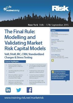 """""""The Final Rule: Modelling and Validating Market Risk Capitals"""" - This course will cover traditional market risk models, the Basel 2.5 package as well as provide an analysis of forthcoming models under the Fundamental Review of the Trading Book.  On September 16 - 17, 2015 at 8:30 am - 5:30 pm.  Category: Classes / Courses.  Artists / Speakers: Han Zhang, Shahed Shafi, Phil Ohana, Victor Makarov, Shravan Bharathulwar,.  Booking: http://atnd.it/29673-0  Price: USD 2299 to USD 2499."""