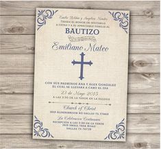 Spanish Printable Baptism Christening Invitations by cardmint