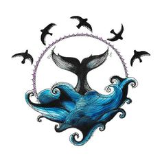 Circle Drawing - Whale and Waves - Ellen McCrimmon: