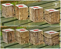 Tea light holders made of europalette, pictures of Nikiszowiec.
