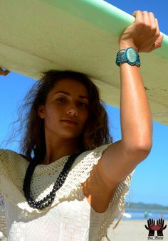 Macrame bracelet by One Heart on the beach in Tamarindo... www.oneheartdesign.ca #jewellery #oneheart #surf #costarica