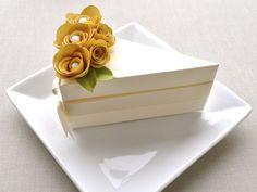 Creamy cake slice favor box with gold flowers (1) - wedding, bridal shower, baby shower, birthday
