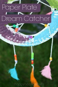 Paper Plate Dream Catcher - chase away bad dreams and bedtime anxiety with this simple paper plate craft. - happy hooligans
