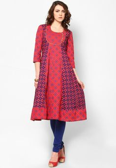 Red Printed Knee Length Round Neck Anarkali Cotton Kurta With 3/4Th Sleeves