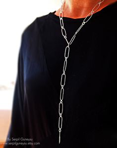 Long Link Handmade Chain Necklace  925 in Silver  by serpilguneysu