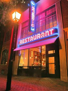 The Majestic has been a neighborhood haunt in Old Town Alexandria since 1932 and remains so today under the guiding hand of restaurateurs Cathal and Meshelle Armstrong. It's still got the neon Art Deco sign of days past and the menu is a throwback, too: they have fried green tomatoes!! :)