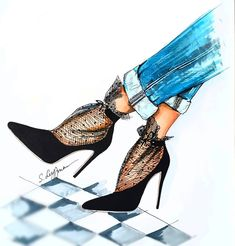 By Sveta Leyfman Fashion Artwork, Fashion Design Drawings, Fashion Sketches, Fashion 2020, Girl Fashion, Fashion Outfits, Fashion Illustration Shoes, Wedding Dress Sketches, Look 2018