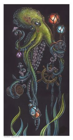 Doug-Horne-limited-edition-print-Tiki-Octopus-Nautical