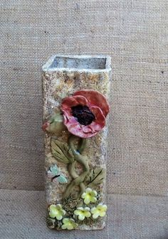 Poppy vase, square vase with poppies, flower vase, butterfly and flowers. on Etsy, £30.00