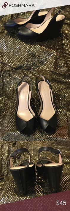"FREE Shipping! BCBG Shoes Black leather wedges. Almost 4.5"" high. BCBGeneration Shoes Wedges"