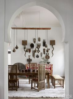 This inviting Marrakech dining room takes a pared down approach to traditional Moroccan style.