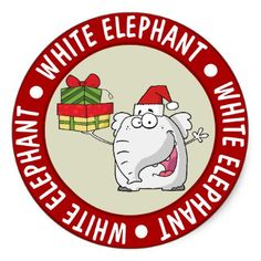 White Elephant Santa Hat Gifts Cartoon Classic Round Sticker - craft supplies diy custom design supply special