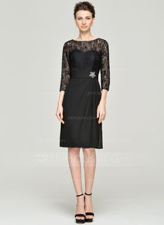 A-Line Princess Scoop Neck Knee-Length Chiffon Lace Mother of the Bride 7cd2b3bb49