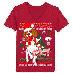 Beagle Dog Ugly Christmas Sweater Holiday Xmas - Ladies' V-Neck T-Shirt