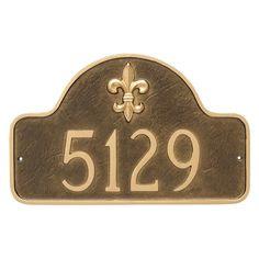 Montague Metal Fleur de Lis Lexington Arch Estate Address Sign Wall Plaque - PCS-0061E1-W-ACC