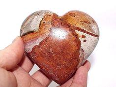 Polychrome (Desert) Jasper crystal heart, w - 382 g, d -  8 x 7cm.Reiki healing.