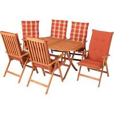 Die hochwertige Gartenmöbelgruppe Vitoria lässt Sie in Ihrem Garten eine entspannte Urlaubs-Atmosphäre genießen. Das 13-teilige Set ist bestehend aus einem Tisch, sechs Klappsesseln sowie den dazu passenden Wendekissen. Die attraktiven Kissen versprechen Ihnen in Kombination mit der 5-fach verstellbaren Rückenlehne einen stets bequemen und entspannenden Sitzkomfort. Die Gartenmöbelgruppe Vitoria ist aus einem FSC-zertifizierten Eukalyptusholz gefertigt und garantiert Ihnen eine hervorragende…