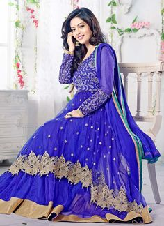 Dark Blue Riya Sen Floor Length Anarkali Suit